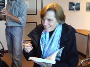 "Dr. Sylvia Earle, graciously and tirelessly signing copies of her book, ""The World Is Blue"""