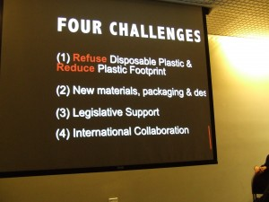 Four Challenges regarding disposable plastics